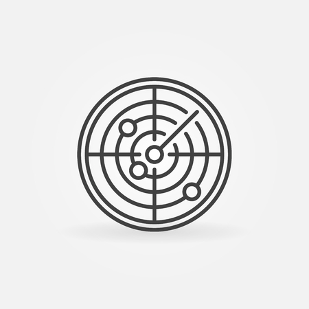 sonar: Radar icon or logo - vector outline sonar symbol Illustration