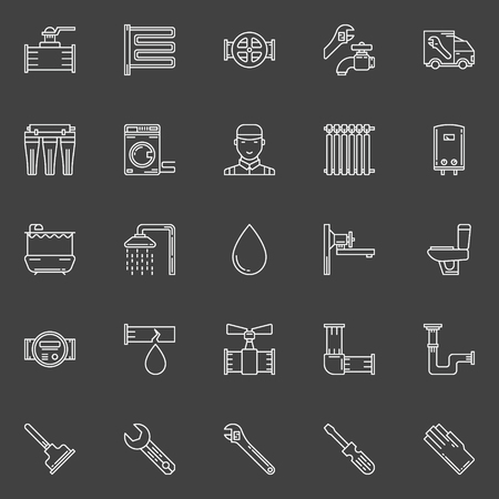 sanitary engineering: Sanitary engineering line icons - vector plumbing signs or logo elements on dark background