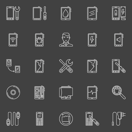 smartphone icon: Smart phone repair icons - vector collection of linear mobile phone or tablet maintenance symbols or logo elements Illustration