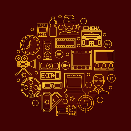 3 d illustration: Cinema vector illustration - round golden sign with cinema thin line icons. Glossy cinema symbol on dark red background