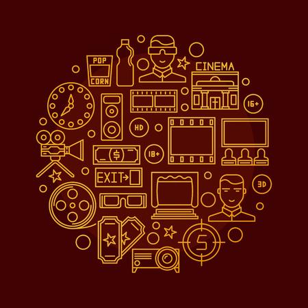 Cinema vector illustration - round golden sign with cinema thin line icons. Glossy cinema symbol on dark red background