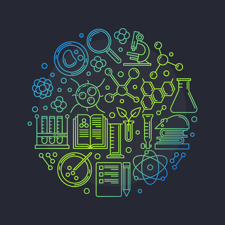 engineering and technology: Biotechnology round vector illustration - vector education or science glossy symbol made with thin icons