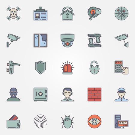 Kleurrijke veiligheid iconen - vector bescherming en beveiliging tekens of symbolen