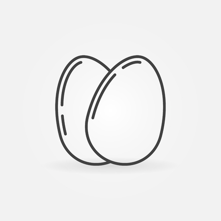 laying: Eggs outline icon - vector minimal chicken egg sign or laying hen logo element