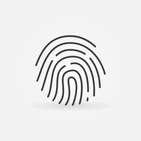 id theft: Fingerprint linear icon - vector minimal biometrics sign element in thin line style