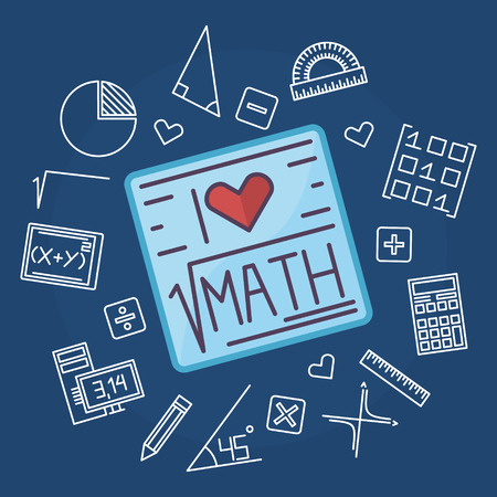 Math education background design - vector mathematics blue flat illustration concept with line math signs 일러스트