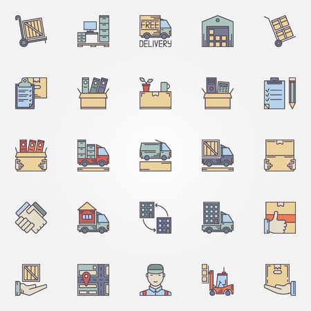 relocation: Moving icons set - vector concept colorful signs and symbols of house or office moving