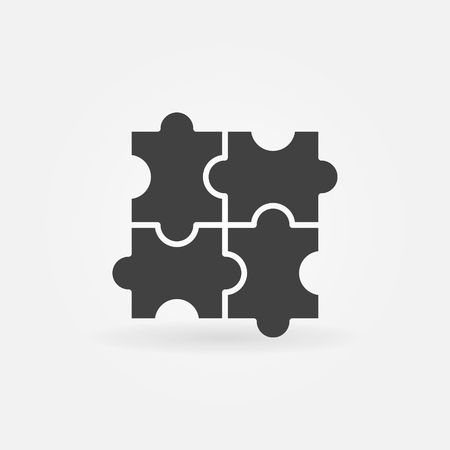 Puzzle flat icon - vector simple dark puzzle symbol or jigsaw  element. Business sign Illustration