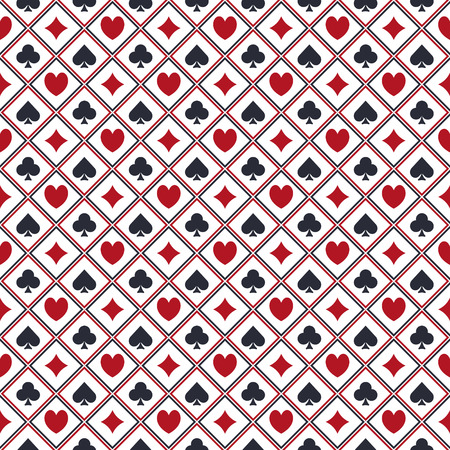 Seamless poker pattern - vector casino or gambling texture with card suits