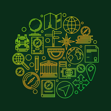 geography: Vector geography illustration - round geography concept education symbol made of thin line icons