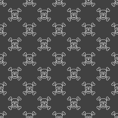 lethal: Skull and crossbones seamless pattern - vector texture made with white outline skulls and bones on dark background Illustration