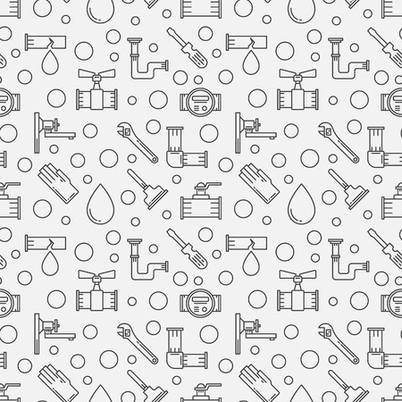 sanitary engineering: Plumbing minimal pattern - vector plumbing services seamless background made with thin line icons and circles