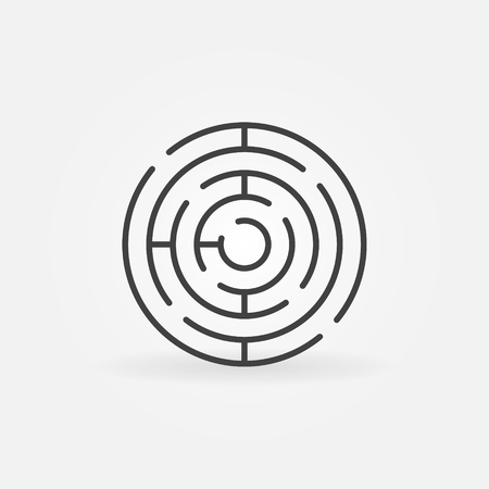 Round maze icon - vector simple circle labyrinth sign