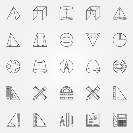 geometry: Geometry icons set - vector set of linear mathematics and geometry signs Illustration
