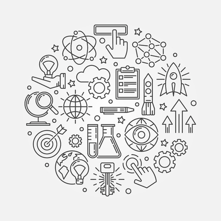 Innovation round illustration - vector creative technology symbol or innovation background made with outline icons