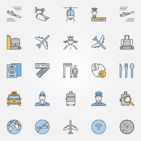 Airport Flat Icons Vector Colorful Airport And Airlines Symbols