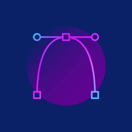 bezier: Bezier curve purple icon
