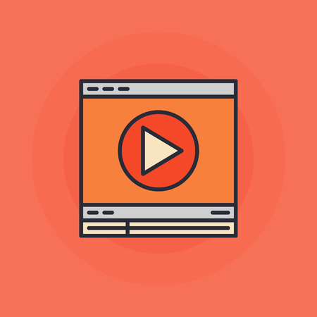 windows media video: Flat online video icon - vector colorful video web player symbol or sign Illustration