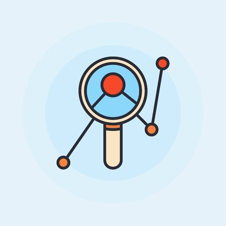 moderm: Magnifying glass with graph symbol - vector data analytics flat design illustration on blue background