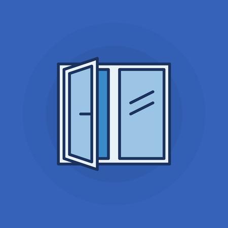window sign: Opened window icon - vector flat window sign or symbol