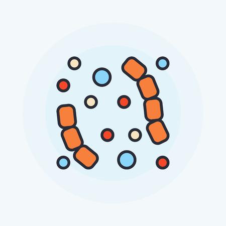 virus bacteria: Flat virus icon - vector colorful bacteria or virus symbol
