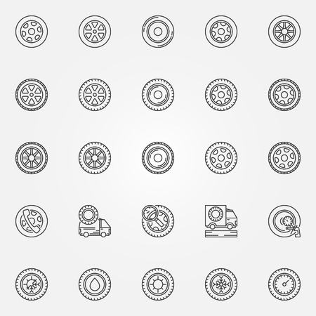 car tire: Car wheels icons - set of tire symbols or signs in thin line style