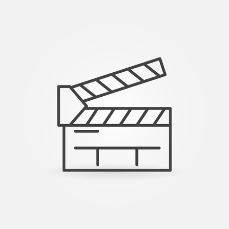 film title: Clapboard line icon - movie or cinema symbol or  element. Linear clapboard sign