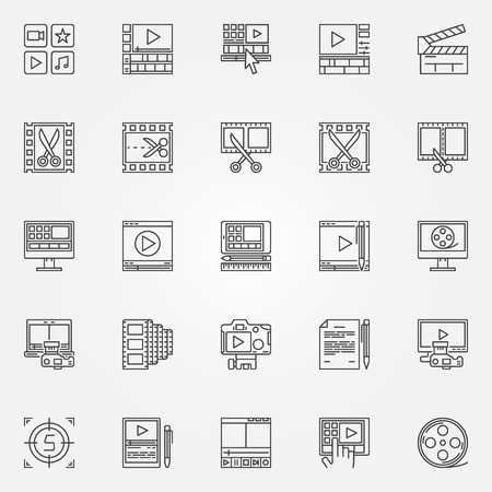 edit icon: Video editor icons set - video editing signs in thin line style. Minimal movie symbols