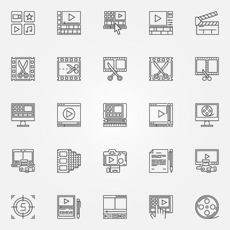 Video Editor Icons Set - Videobearbeitung Zeichen in dünne Linie Stil. Minimal Film Symbole Vektorgrafik