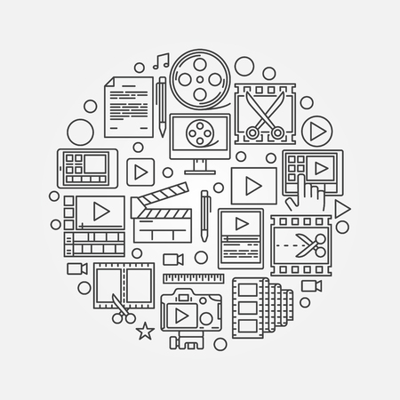 editing: Video production illustration - round video editing symbol made with thin line icons