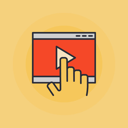 windows media video: Online video illustration - hand touch on video player sign or icon on yellow background