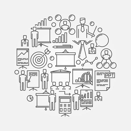 presentation screen: Presentation linear illustration - round business symbol. Presentation screen with businessmen sign Illustration