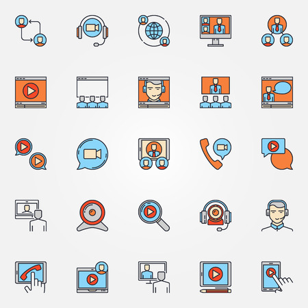 customer support: Business communication icons - vector colorful video conference signs. Online conference or meeting symbols Illustration