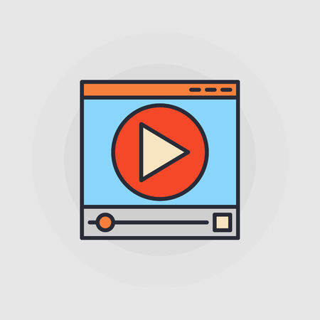 window display: Web video player icon - vector flat illustration with video player