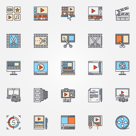 video icons: Video production icons set - vector collection of flat video edit symbols. Video editing colorful signs