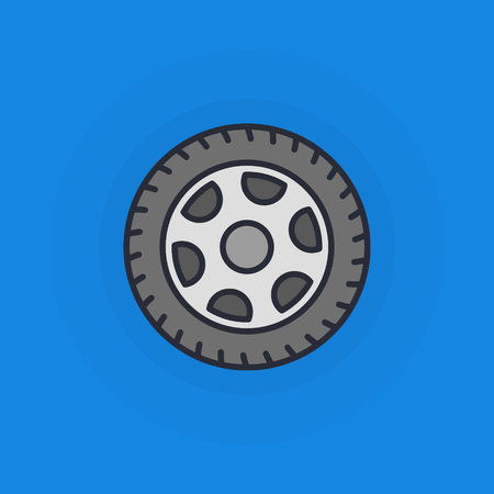 vector tyre: Wheel flat icon - vector minimal car tyre symbol or sign on blue background Illustration