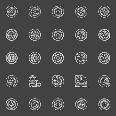 vector tyre: Tire icons set - vector linear car wheel disks signs. Tyre symbols on dark background