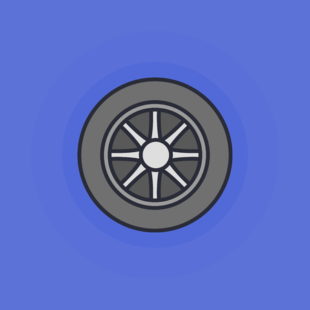 vector tyre: Car wheel icon - vector flat car tyre symbol or sign