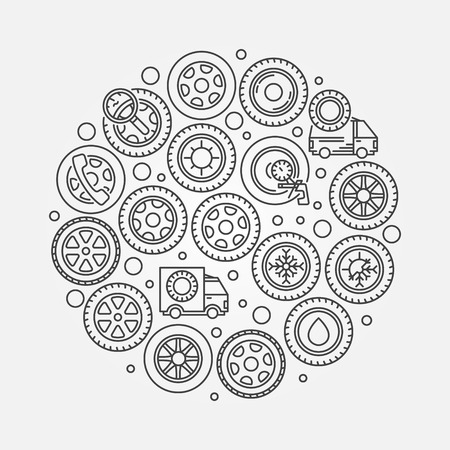 vector tyre: Car wheel illustration - vector round tyre symbol made with thin line car wheel icons