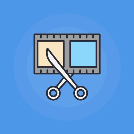 video icons: Scissors and film shot icon - vector flat video and cinema symbol or illustration