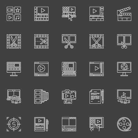 editor: Video editing linear icons - vector collection of video or movie editor symbol or signs Illustration