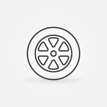 vector tyre: Car wheel line icon - vector simple wheel symbol or logo element in thin line style. Tyre sign