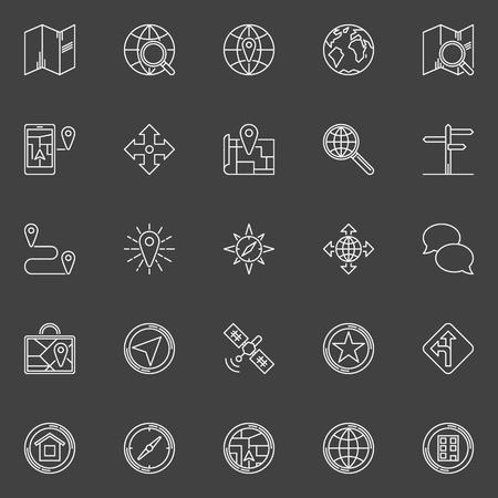 geolocation: Navigation line icons - vector set of navigation or location symbols. Linear geolocation signs on dark background Illustration