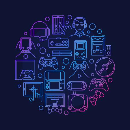 Jeux vidéo design rond - symbole vecteur de jeu rond fait avec les consoles de jeux linéaires, joysticks et gadgets signes