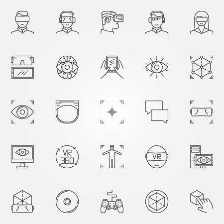 face with headset: Virtual reality icons set - vector thin line VR headset symbols and gadgets signs