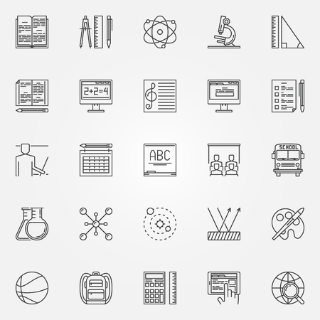 Education and school icons set - vector school and college signs or symbols in thin line style