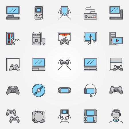 player controls: Console gaming icons - vector set of colorful flat game devices symbols or signs. Concept game pictograms