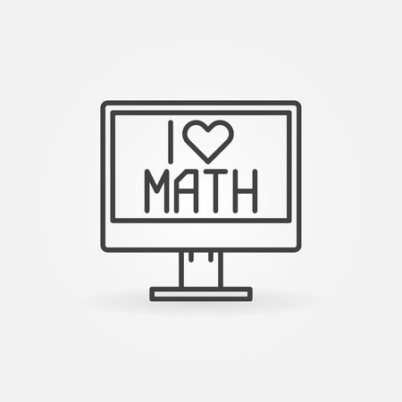 monoblock: I Love Math icon - vector computer icon or symbol in thin line style