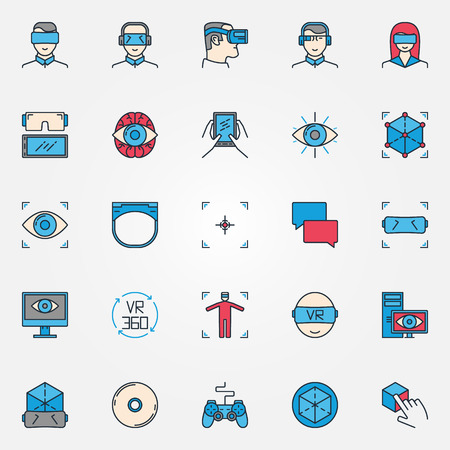 Virtual reality icons - vector set of colorful VR devices symbols or innovation virtual reality signs Illustration