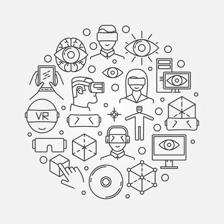 La realidad virtual o ilustración VR - Vector de todo el símbolo de la realidad virtual hecha con iconos de líneas finas Ilustración de vector